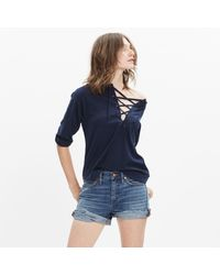Madewell - Blue Libra Lace-up Tee - Lyst