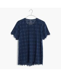 Madewell | Blue Eyelet Tailored Tee | Lyst