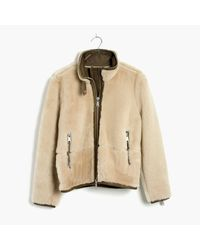Madewell | Natural Plush Shearling Motorcycle Jacket | Lyst