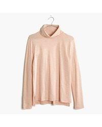 Madewell   Pink Whisper Cotton Turtleneck In Jonny Stripe   Lyst