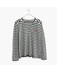 Madewell | Black Embroidered Whisper Cotton Split-neck Tee In Estelle Stripe | Lyst