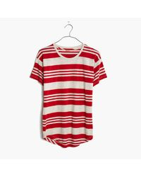 Madewell | Red Whisper Cotton Crewneck Tee In Rampling Stripe | Lyst