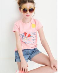 Madewell - Blue X Crewcuts Kids' Strawberry Embroidered Jean Shorts - Lyst