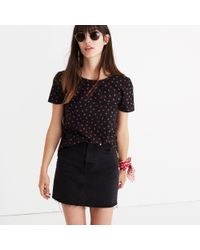 Madewell - Black Tie-back Cutout Top In Fresh Strawberries - Lyst