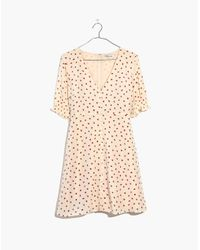 Madewell - Multicolor Silk Clover Button-front Dress In Fresh Strawberries - Lyst