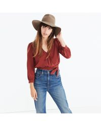 Madewell - Red Silk Wrap Top - Lyst
