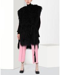 MM6 by Maison Martin Margiela - Black Reversible Faux Fur Gilet - Lyst