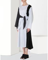 MM6 by Maison Martin Margiela - Blue Contrasting Cotton Stripe Dress - Lyst