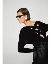 Mango - Black Back Vent Sweater - Lyst