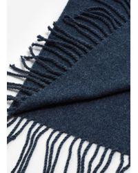 Mango - Blue Fringes Knit Scarf - Lyst