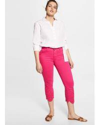 854cc14fdf4888 Violeta by Mango Slim Crop Trocky Jeans in Pink - Lyst