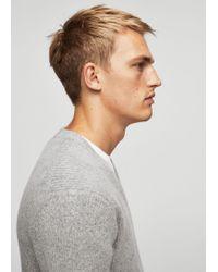 Mango | Gray Textured Wool-blend Sweater for Men | Lyst