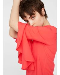 Mango - Red Ruffled Sleeve Blouse - Lyst