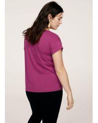 Violeta by Mango - Purple Essential Cotton-blend T-shirt - Lyst