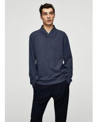 Mango - Blue Flecked Cotton-blend Sweater for Men - Lyst