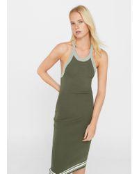 Mango - Green Fitted Jersey Dress - Lyst