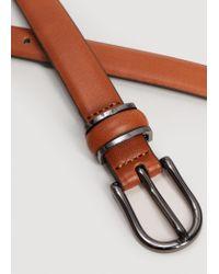 Mango - Brown Metal Buckle Belt - Lyst