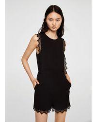 8e4af5a2be96 Mango Blond-lace Applique Jumpsuit in Black - Lyst
