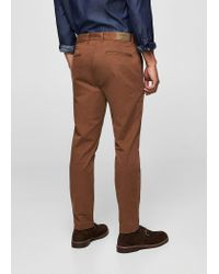 Mango - Brown Slim-fit 5 Pocket Cotton Trousers for Men - Lyst