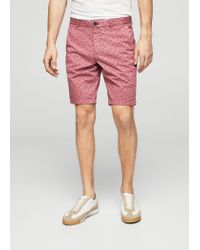 Mango - Red Printed 5 Pocket Bermuda Shorts - Lyst