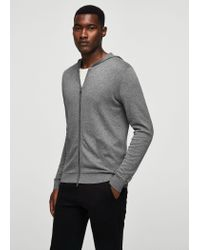 Mango - Gray Cotton Cashmere-blend Sweater for Men - Lyst