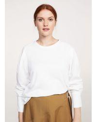 Violeta by Mango - White Shirt Sleeve T-shirt - Lyst
