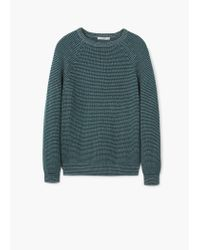 Mango - Green Cotton Chunky-knit Sweater for Men - Lyst