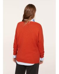 Violeta by Mango - Red Neck Cut-out Sweater - Lyst