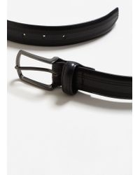 Mango - Black Stitched Leather Belt for Men - Lyst