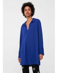 Mango   Blue Flowy Blouse   Lyst