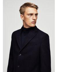 Mango   Blue Wool-blend Classic Coat for Men   Lyst