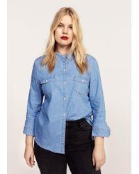 Violeta by Mango - Blue Shirt - Lyst