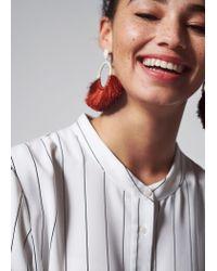 Violeta by Mango - Orange Tassels Hoop Earrings - Lyst