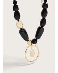 Violeta by Mango   Metallic Bead Stone Necklace   Lyst