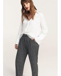 Violeta by Mango - Black Printed Baggy Trousers - Lyst