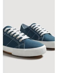 Mango - Blue Linen Lace-up Sneakers for Men - Lyst