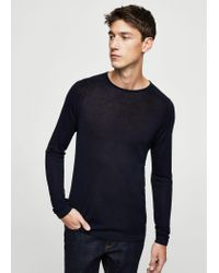 Mango - Blue Fine-knit Silk-blend Sweater for Men - Lyst
