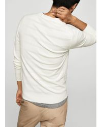 Mango - White V-neck Striped Sweater for Men - Lyst