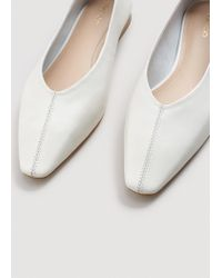 Mango - White Pointed Toe Flat Shoes - Lyst