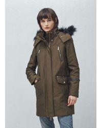 Mango | Black Cotton Hooded Coat | Lyst
