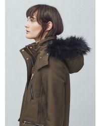 Mango   Black Cotton Hooded Coat   Lyst