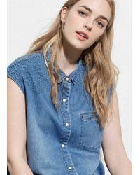Violeta by Mango - Blue Medium Denim Shirt - Lyst