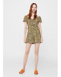 Mango - Yellow Floral Short Jumpsuit - Lyst