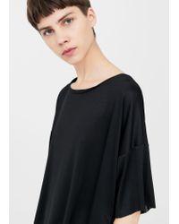 Mango - Black Fine-knit T-shirt - Lyst