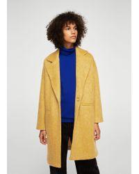 Mango - Yellow Long Mohair-blend Coat - Lyst