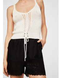 Mango - Black Openwork Panels Shorts - Lyst