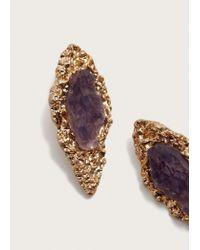 Violeta by Mango | Stone Metallic Earrings | Lyst