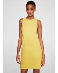 Mango - Yellow Back Vent Dress - Lyst
