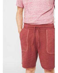 Mango - Orange Textured Cotton-blend Bermuda Shorts for Men - Lyst