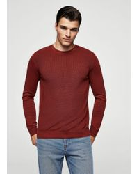 Mango | Red Ribbed Cotton-blend Sweater for Men | Lyst
